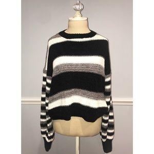 Woven Heart Stripped Knit Sweater